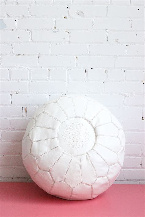 white leather pouf ottoman white leather moroccan pouf ottoman footstool ships