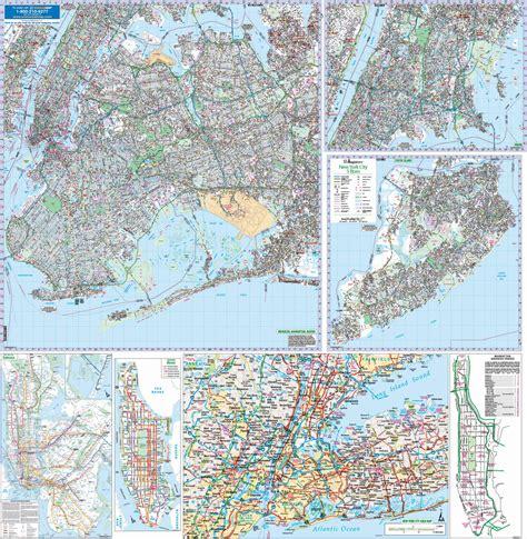nyc five boro map by vandam laminated pocket city map w attractions in all 5 boros of ny city manhattan the bronx st island w new subway map 2017 edition streetsmart books new york city ny 5 boroughs wall map kappa map