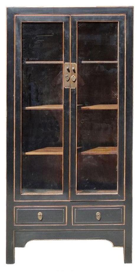 solid elm wood black lacquer glass door display