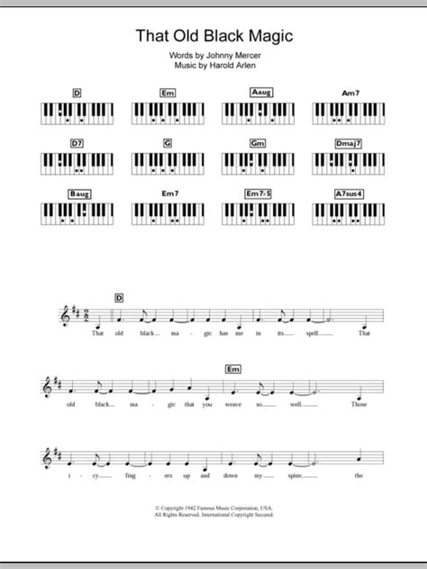 printable lyrics black magic that old black magic sheet music direct