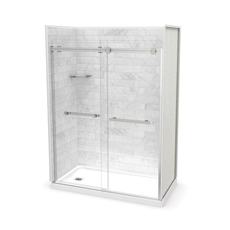 acrylic showers maax allia 1 piece acrylic shower wseat shop maax utile marble carrara fiberglass plastic