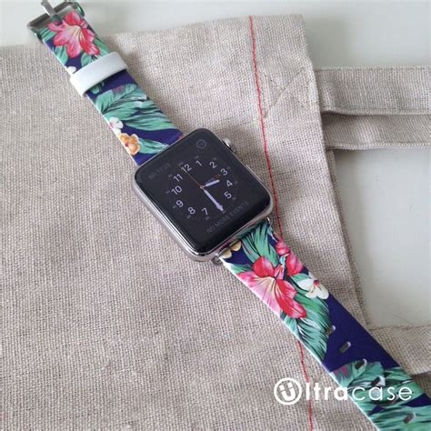 Printed Leather Band For Apple 38mm Flower Rural 7 hawaii colorful flower on genuine leather band for apple