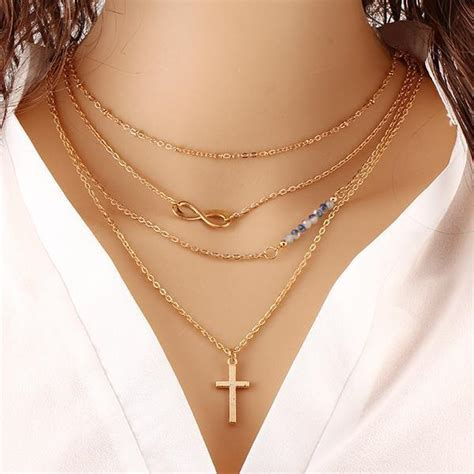 2007 Fashion Trends Nersels Designer Trendy Gold Jewelry by Multilayer Cross Infinity Necklace Pluto99