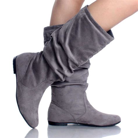 gray suede slouch scrunch pull on casual flat womens mid