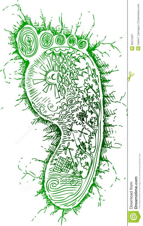 doodle energy sketchy doodles green footprint royalty free stock