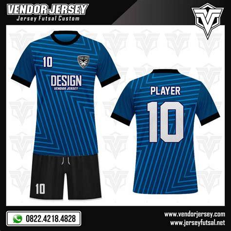 Q3 Contoh Hasil Custom Setelan Baju Futsal Kode E1203 desain kaos futsal depan belakang dan celana vendor jersey