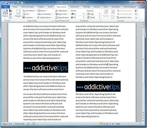 word layout two columns word 2010 write in columns magazine look
