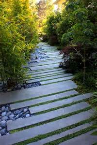 slabs grass and pebbles paving stepping stones paths