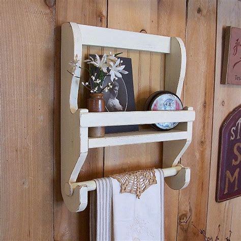 Handmade Wooden Kitchens - shabby chic farmhouse towel shelf handmade wooden kitchen wall