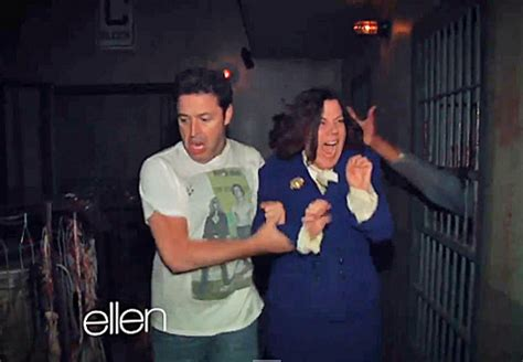ellen degeneres andy haunted house ellen degeneres sends staffers amy and andy through a haunted house video towleroad
