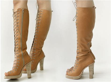 Handmade High - handmade genuine leather gladiator knee high boots lace up