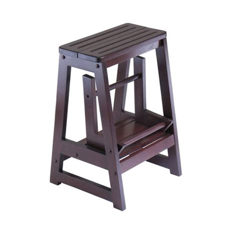 Convertible Step Stool winsome wood convertible step stool antique walnut 94022