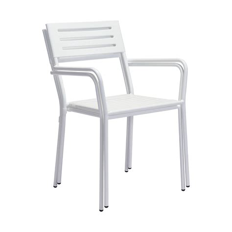 zuo wald outdoor dining arm chair in white boost home