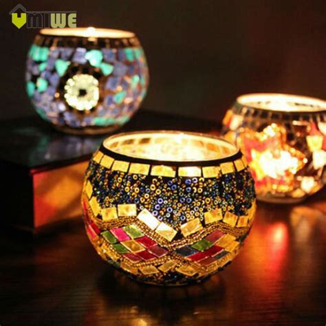 umiwe mosaic glass tealight candle holder candle lantern