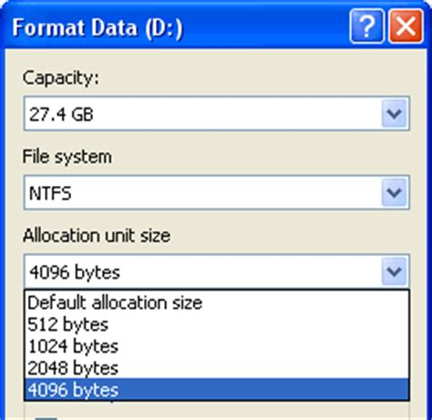 format file allocation size what is allocation size in formatting usb flash drive