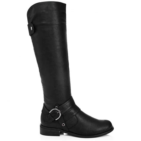 flat boots buy phillipa flat knee high biker boots black