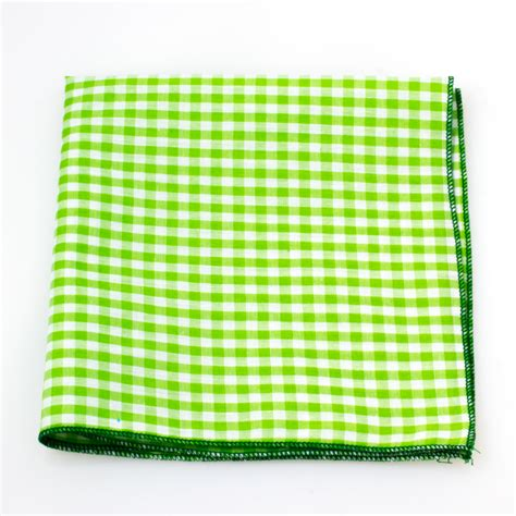 square polly cutton lime lime green and white gingham pocket square