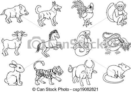 how to draw new year animals vector illustration of zodiac signs