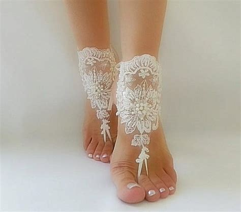 Lace Sandals Wedding by Ivory Barefoot Lace Sandals Wedding Anklet