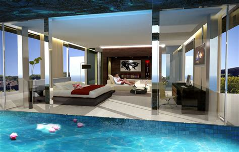 Home Design 3d Upstairs by Home With Infinity Pool And Glass Bottomed Pool Rendered In 3d