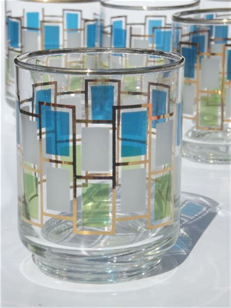 Color Block Glasses nordic color block libbey glasses set mod vintage