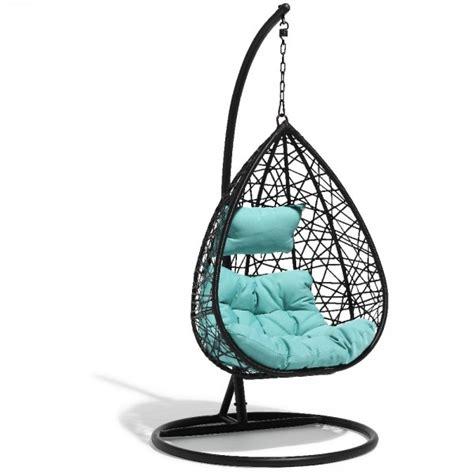 Hamac Gifi fauteuil suspendu chill noir et bleu lagon transat