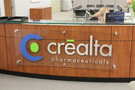 Crealta Pharmaceutical Office Reception Sign Impact Signs Desk Signs For Office
