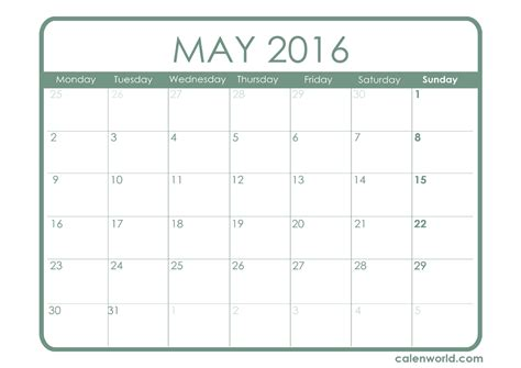 printable calendar template may 2016 may 2016 calendar printable calendars