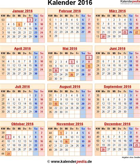 Wochen Kalender 2016 Kalender 2016 Mit Excel Pdf Word Vorlagen Feiertagen