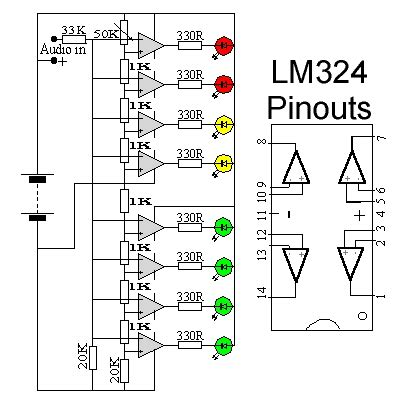 lm324 application circuit diagram schematic wiring diagram audio vu level meter circuit