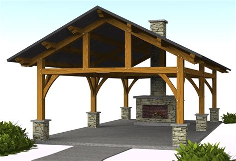plans perspectives and elevations of timber pavilions vandever pavilion 16 x 30 timber frame pavilion
