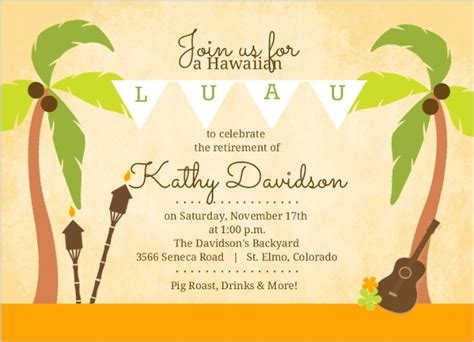 luau invitations templates free palm tree hawaiian luau retirement invitation