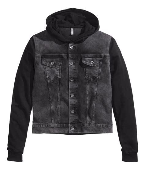 Jaket Bloods Denim h m hooded denim jacket in black for lyst