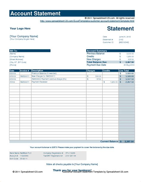 7 statement of account template procedure template sle