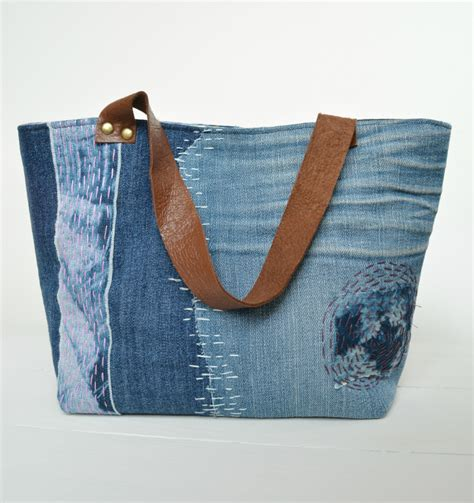 Denim Patchwork Bag Patterns Free - sashiko inspired denim tote bag pattern seams and scissors