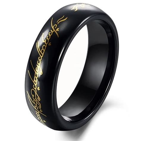 tungsten black gold lord of ring mens ring size 6 10 in