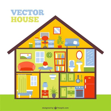 haircut house colorful house in a cut vector free download