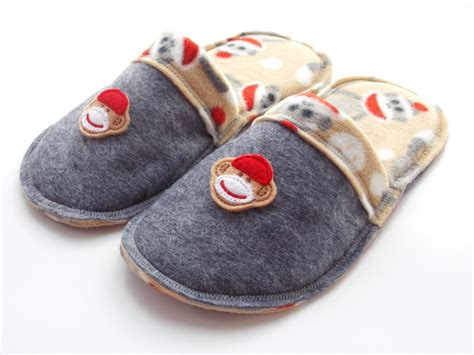 kids house slippers teen sock monkey slippers children s clothing house shoes scuffs gray