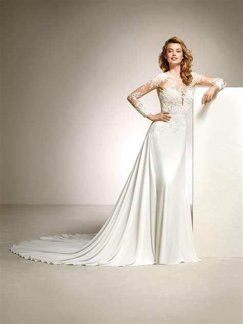 pronovias wedding dresses and cocktail dresses flared wedding dress with floral motifs dacil pronovias