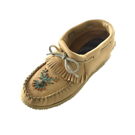 beaded moccasin vs womens real genuine moose hide leather ankle high