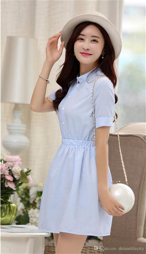 Summer New Korean Dress 670682 1 new shirt dress summer dress 2017 fashion korean sleeve white and blue