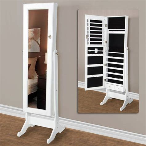 white mirrored jewelry cabinet