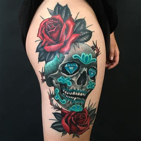 candy skull tattoo animal sugar skull