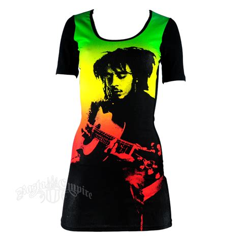 Dress Black Raisya bob marley guitar dress rastaempire