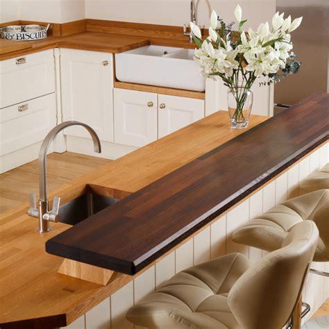 Kitchen Island Countertop Overhang solid wood breakfast bar worktops amp kitchen breakfast bars