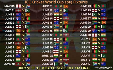 icc cricket world cup  schedule icc cricket world
