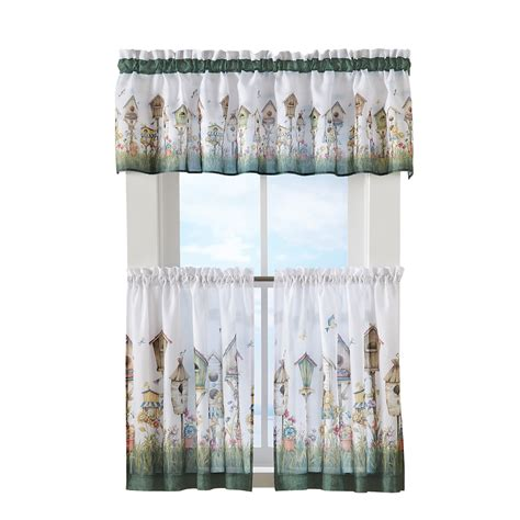 birdhouse kitchen curtains collections etc home sweet home birdhouse tiered window curtain set ebay
