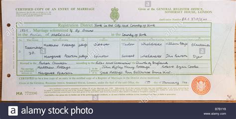 Somerset House Birth Records Marriage Certificate Issued By General Register Office At Somerset Stock Photo
