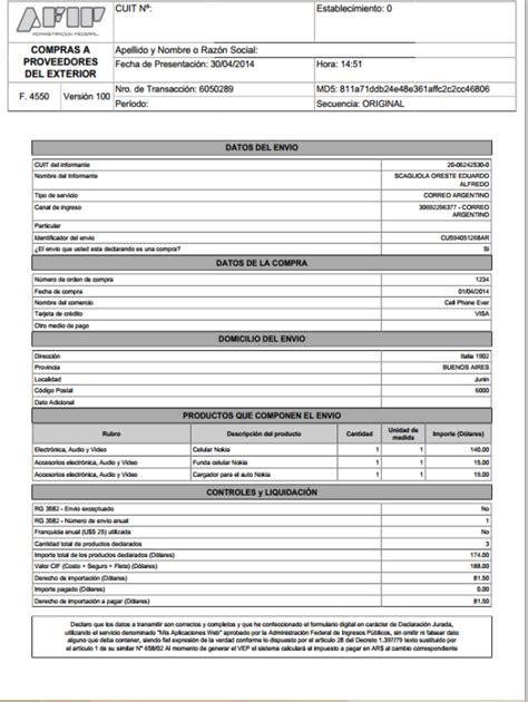 formulario f 4550 afip quot biuti blog quot p junio 2014