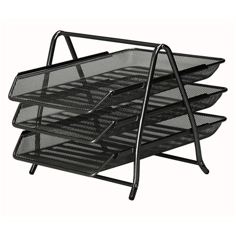 mesh 3 tier letter tray black staples 174